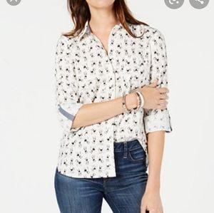 NWOT Tommy Hilfiger button down shirt dog print